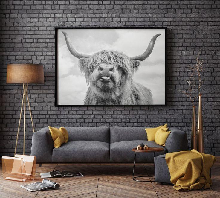Scandinavian Highland Cow Art Print Unframed Cow Wall Art Highland Cow Art Highland Cow Canvas