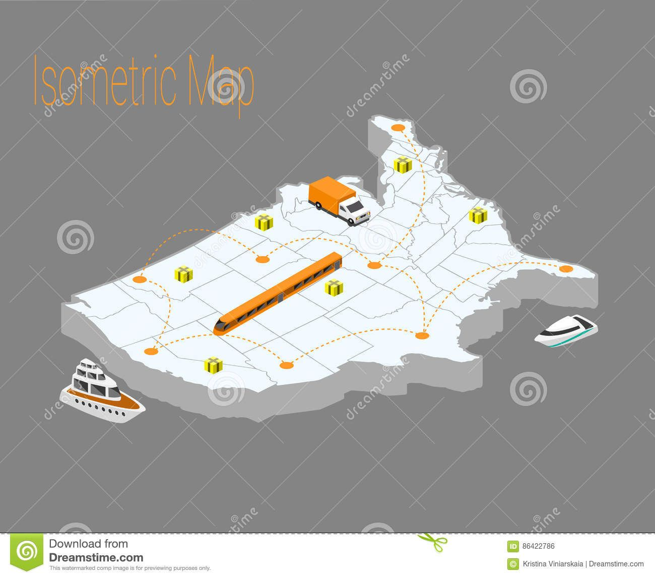Map Usa Isometric Concept Stock Vector Image 86422786 Iso