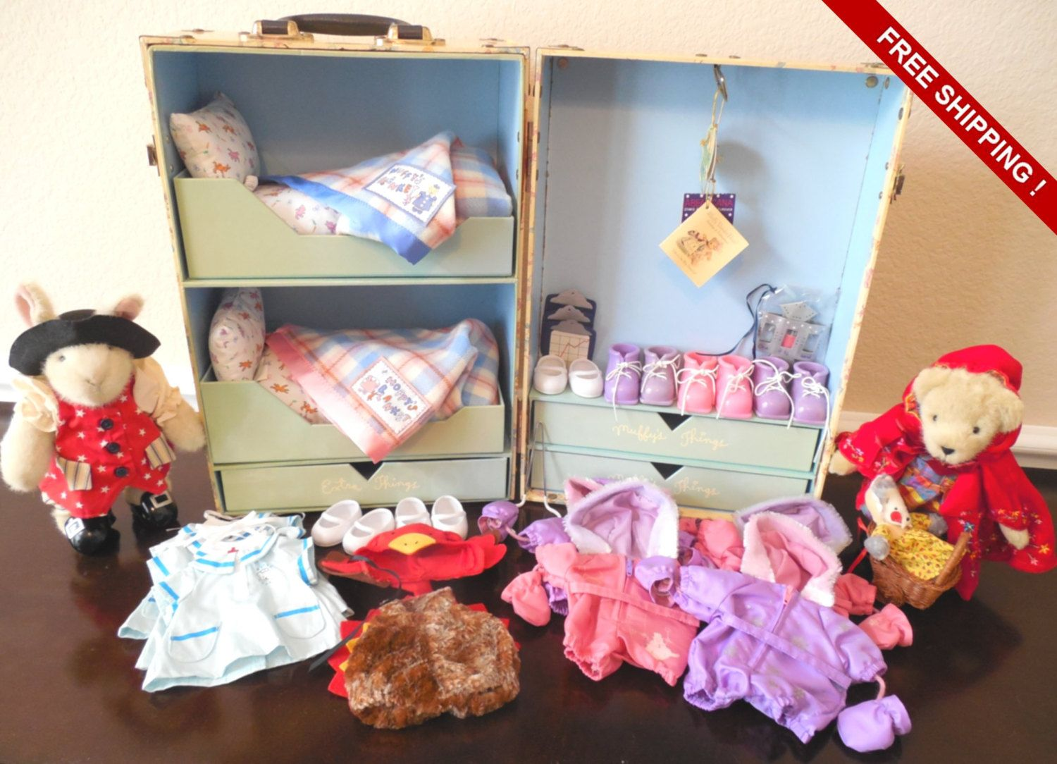 Muffy's & Hoppy's Bunk Bed Trunk Bedroom Muffy VanderBear Storage/Dolls/Outfits/Accessories #bearbedpillowdolls