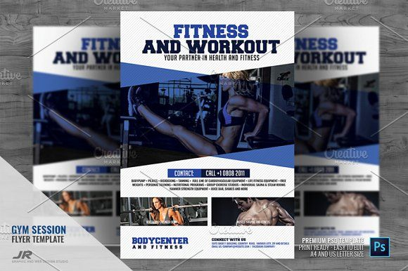 gym and sports flyer by jovan on creativemarket flyer templates