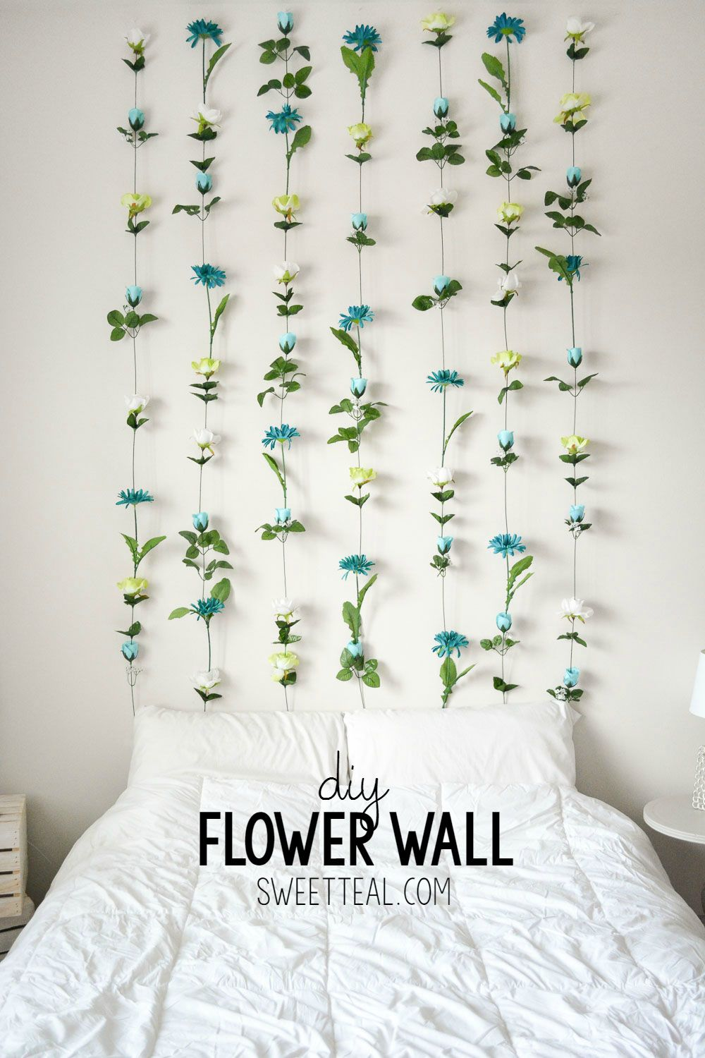 DIY Flower Wall Headboard Home Decor Wall headboard Diy