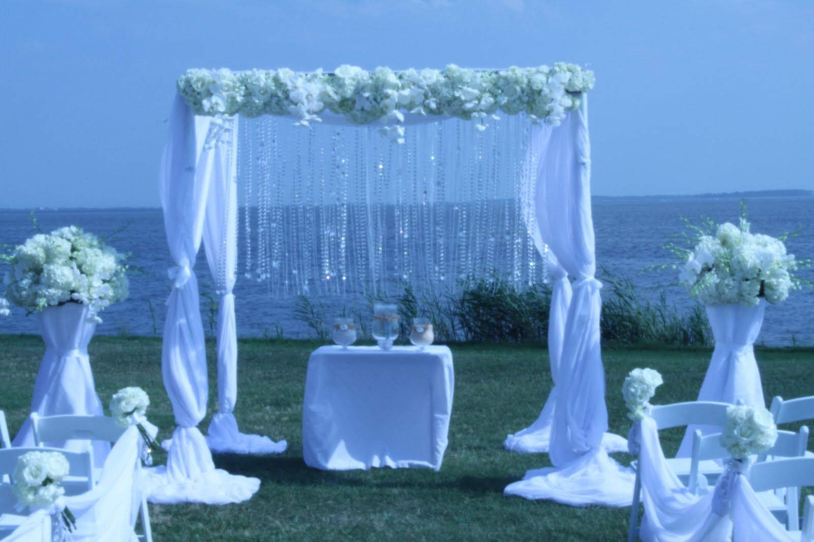 Rehoboth beach wedding with our crystal fabric canopy. & crystal wedding arches | ... .us: Rehoboth beach wedding with our ...
