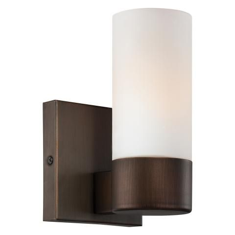 1 Light Wall Sconce - 1 Light Wall Sconce in Copper Bronze Patina Finish w/Etched Opal Glass minka