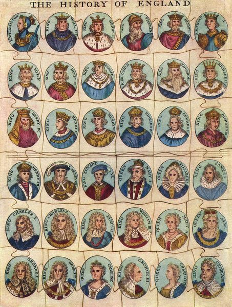 Print Of Early Jigsaw Puzzle Showing Kings Queens Of England In