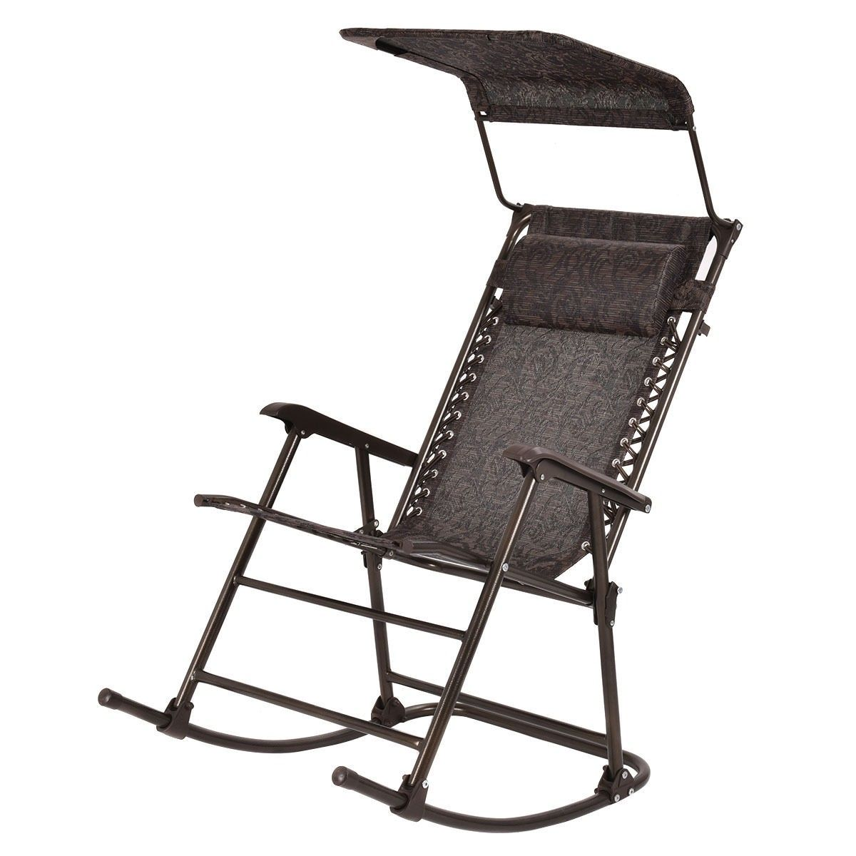 Outdoor Folding Rocking Chair With Canopy and Headrest