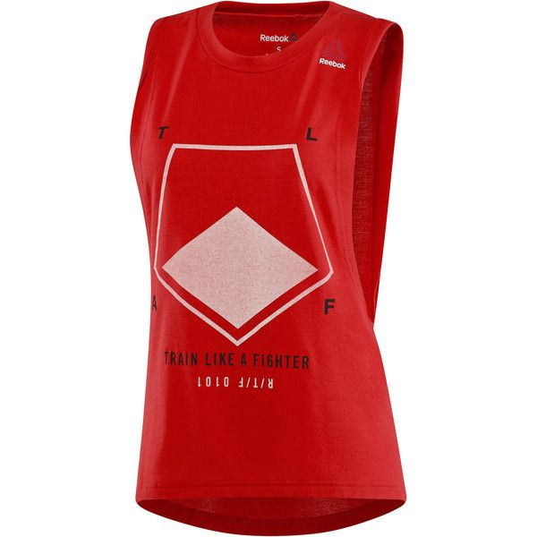 Reebok Combat Tank ($30) ❤ liked on Polyvore featuring activewear, activewear tops, apparel, reebok sportswear, reebok and reebok activewear