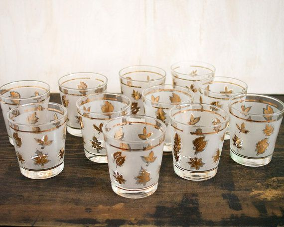 Lovely As Seen In MAD MEN | Vintage Set Of Eleven Libbey 10oz. Frosted Glasses  With Gold Leaves | Mid Century Modern Barware, Glassware, Bar Glass