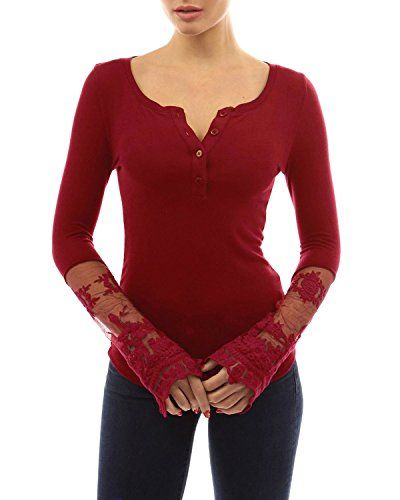 15f899bcc88c46 StyleDome Women Sexy Lace Long Sleeve Button Neck Cotton Stretchy Blouse  Shirt Tops: Amazon.co.uk: Clothing