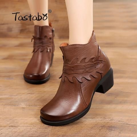 Tastabo Ladies Black Shoes Women Square Heel Retro Boots Handmade Ankle Boots for Women Fashion Soft Genuine Leather Shoes