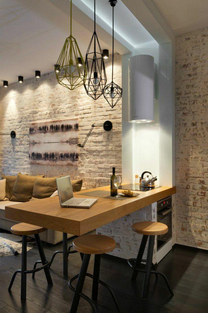 comment choisir un ilot central dans la cuisine avec mur de briques - Luminaire Lot Central Cuisine