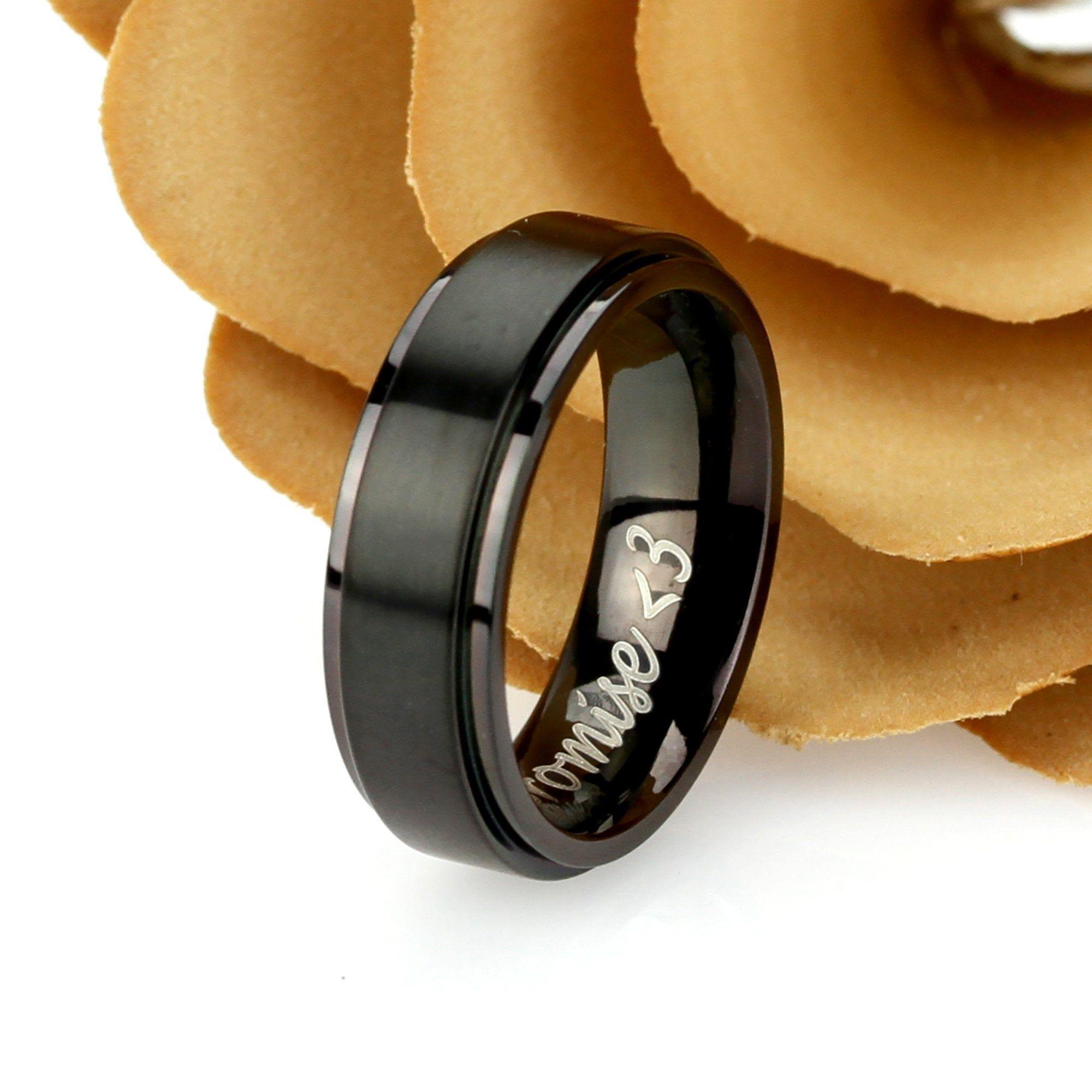 Promise Ring Titanium Wedding Band Ring Men Women Unisex