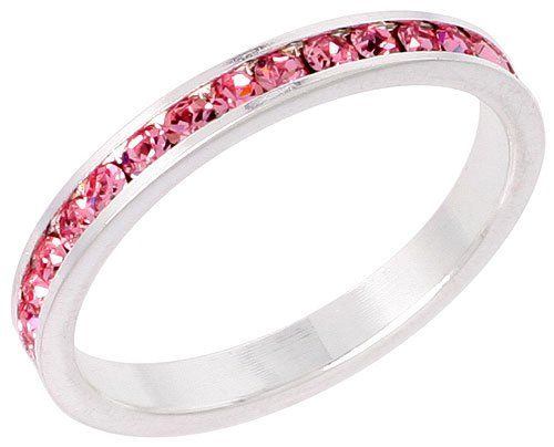 Stainless Steel Eternity White Color Crystal April Birthstone Stackable Ring 3MM