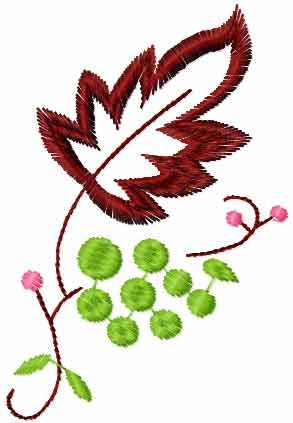 Swirl With Green Berry Free Embroidery Design Flowers Free Machine