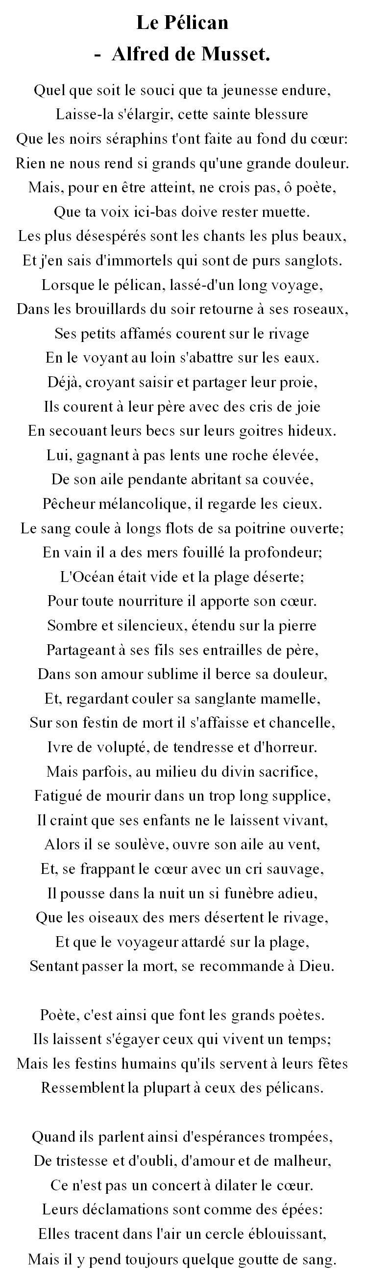 Le Pélican Alfred De Musset Alfred De Musset Musset Et