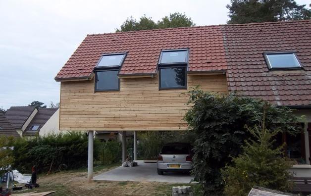 Extension maison en bois gambay 78950 extension bois en 2019 outdoor decor home decor et - Maison bois pilotis ...