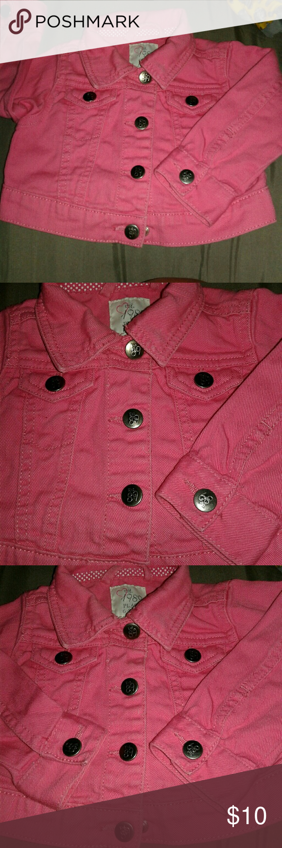 Pink dress with jean jacket  Infants jean jacket  Bright pink Infant and Coats