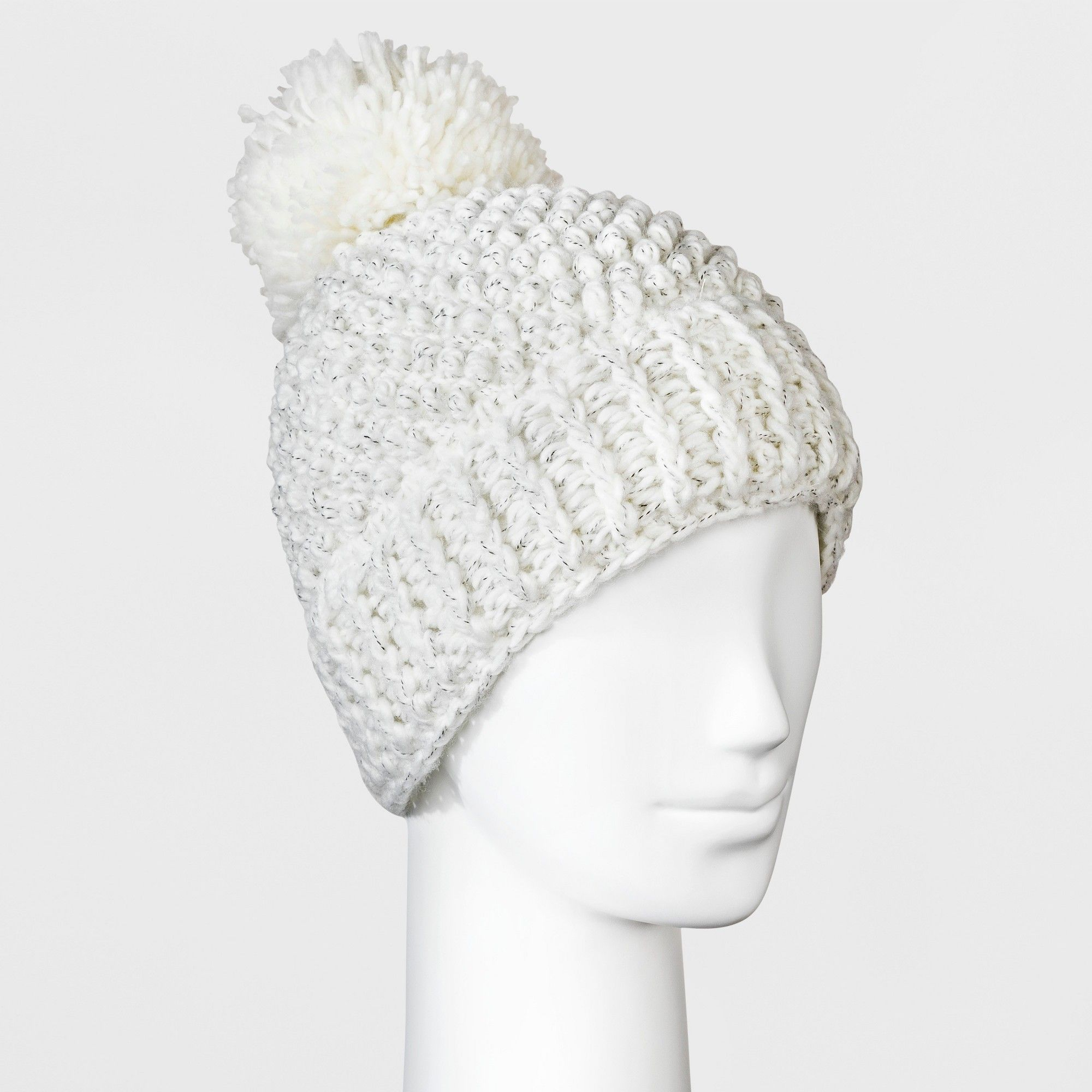 a6e426ad5f63 Women s Fleece Lined Marled Faux Fur Pom Beanie - Universal Thread Cream  (Ivory)