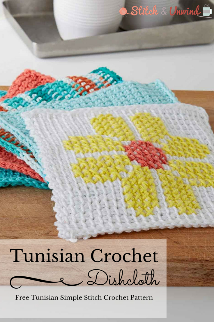 Free Tunisian Crochet Pattern: Simple Summer Dishcloth | Abeja ...