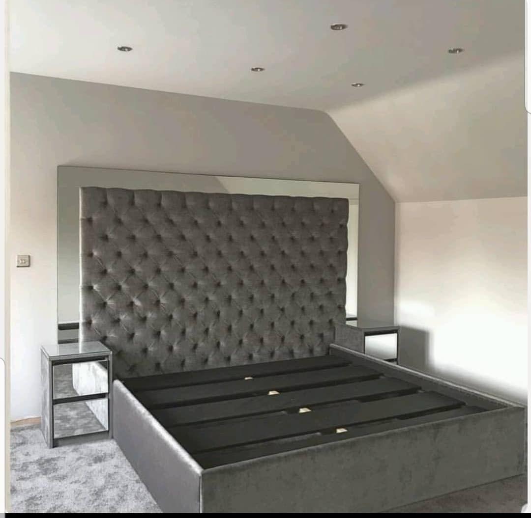 Valentino Mirrored Bed In Plush Velvet In 2020 Velvet Bed