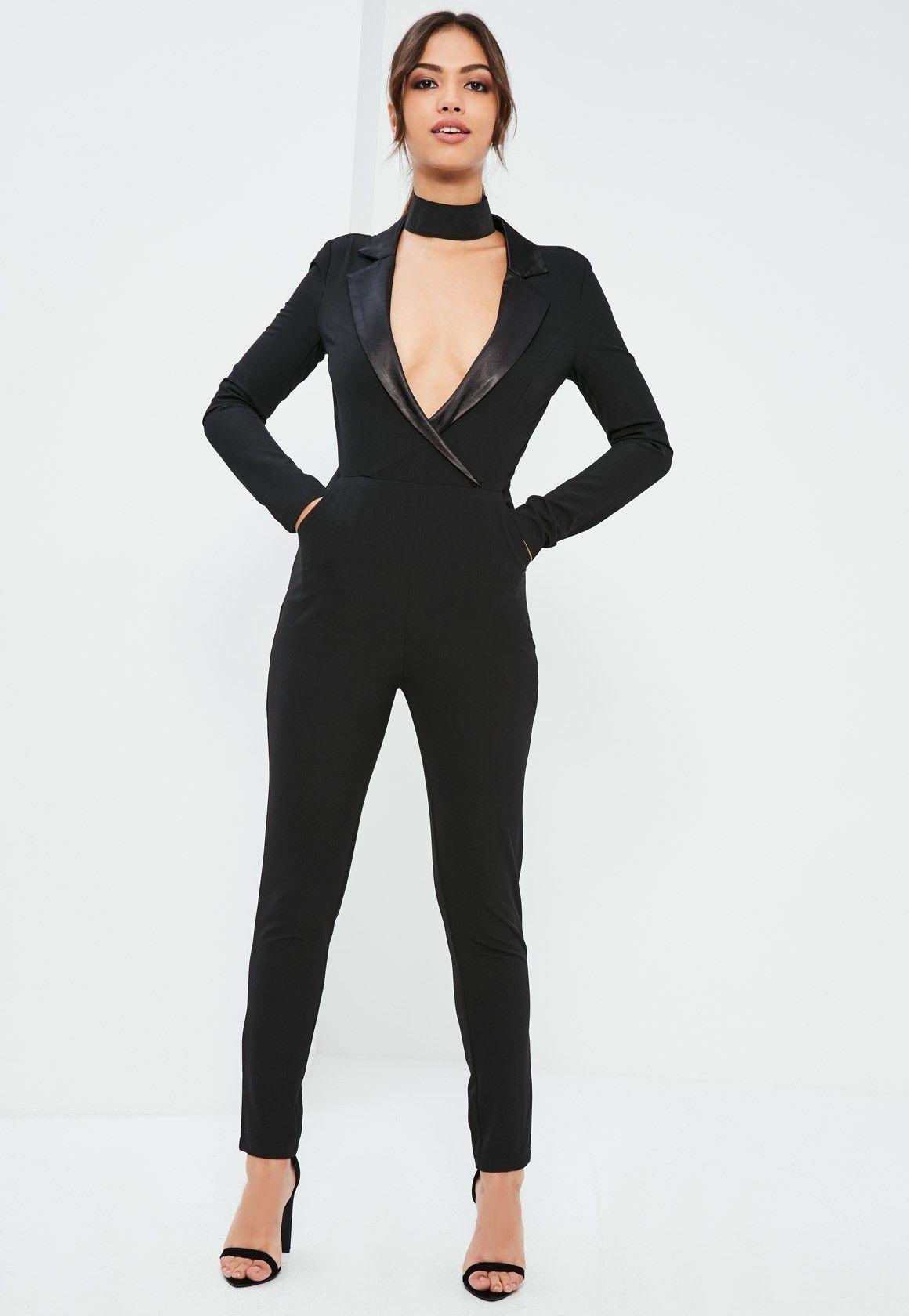 1dd2d233d96 Missguided - Black Satin Lapel Long Sleeve Tux Jumpsuit