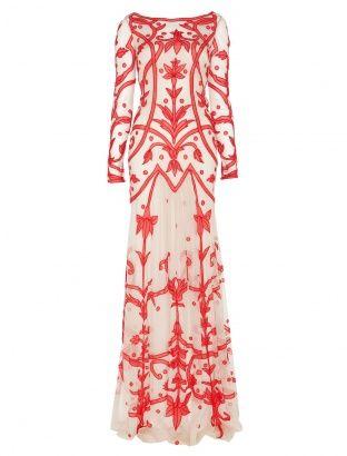 A signature Temperley London style, the Long Francine Tattoo Dress is  given a Summer update this season. The long, lean silhouette made of  sheer tulle, underlaid with a stretch lining is embroidered with a  tattoo style appliqu that snakes around the body in a fleur-de-lis  design. The shape hugs the body to below the hip and gently kicks into a  wider skirt while the sleeves are long and slim.