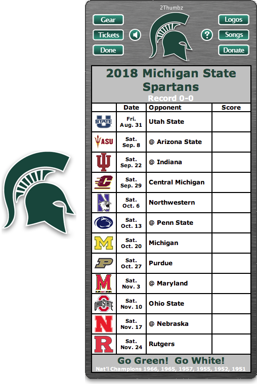 Get Your 2018 Michigan State Spartans Football Schedule App For Mac Os X Go Green Go White National Champions 1966 1965 1957 1955 1952 1951 Downloa