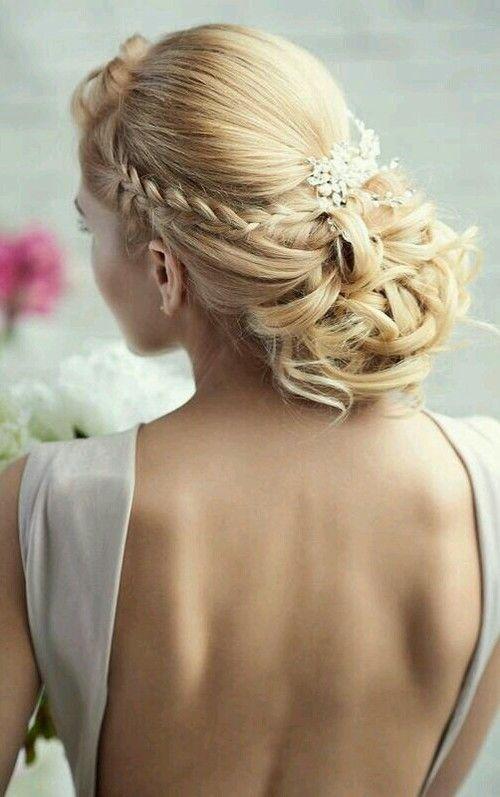 Brautfrisur geflochten halblang