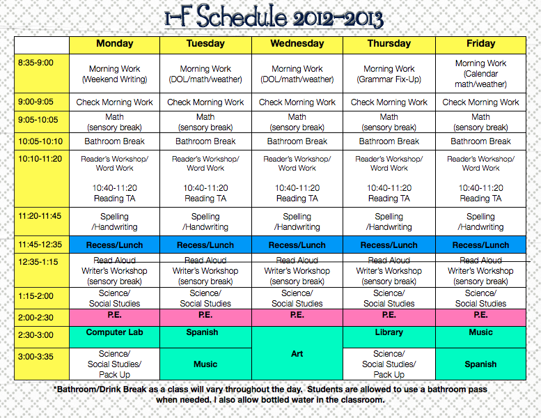 Classroom Schedule Template For Teachers