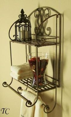 Bathroom Tuscan Wrought Iron 2 Tier Wall Shelf With Towel Bars