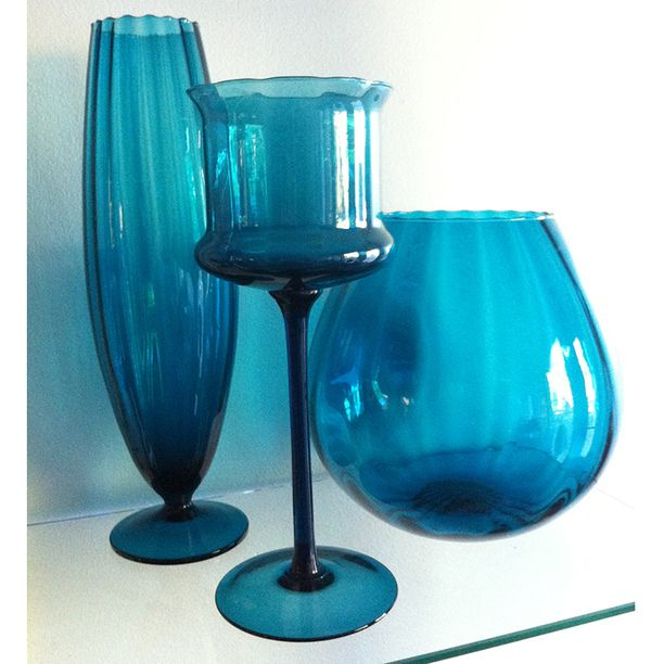 Empoli Linear Optic Collection vintage, teal, glass & pottery