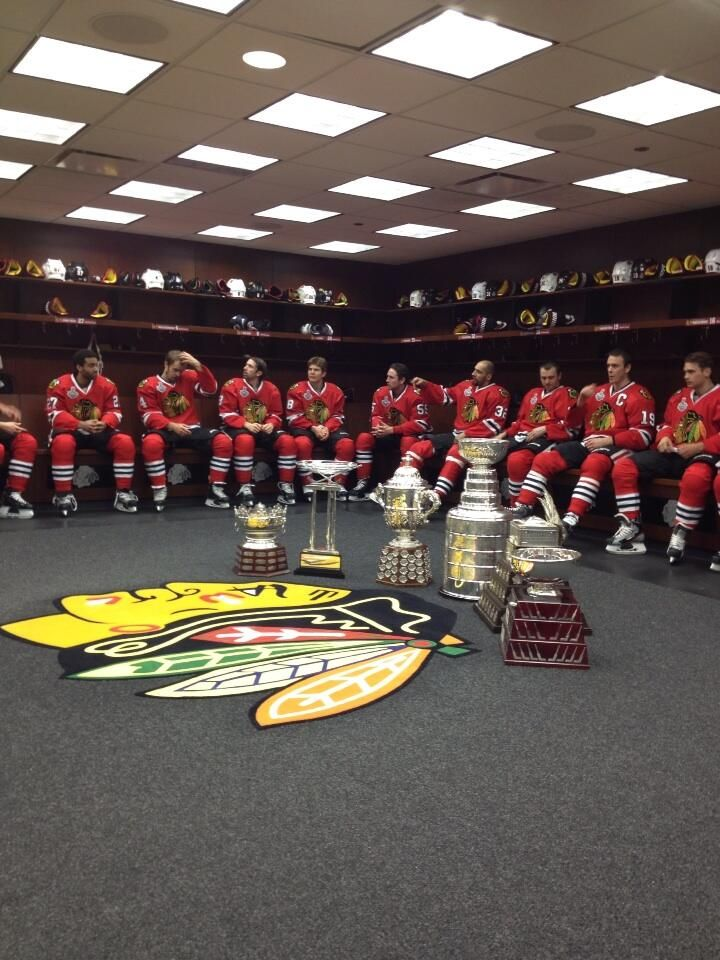 That's a whole lotta Hardware!! Chicago Blackhawks! Stanley Cup Champions 2013