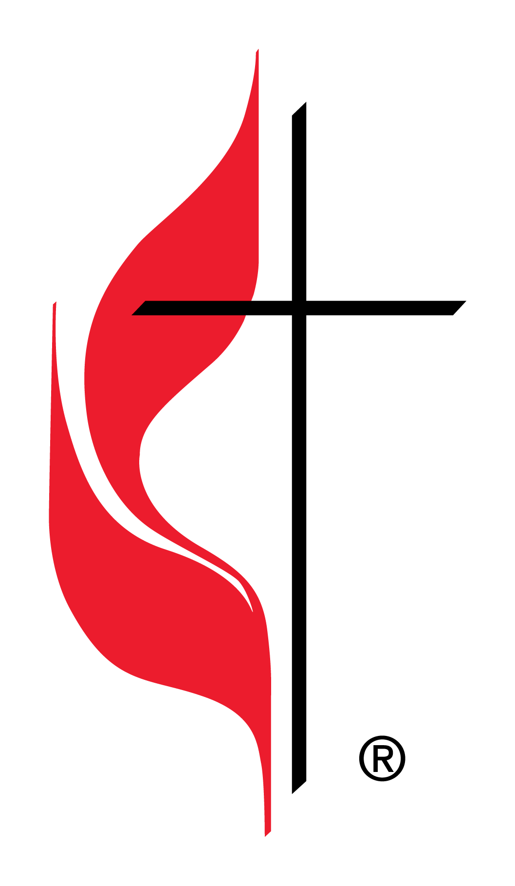 official cross and flame logo of the united methodist church [ 1058 x 1818 Pixel ]