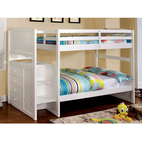 Reco White Dual Twin Size Bunk Bed With Side Storage Drawers