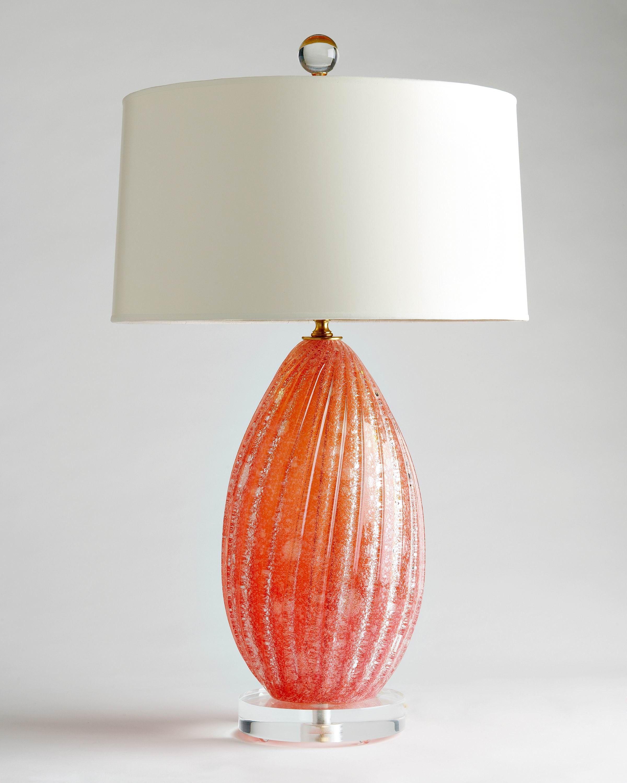 Coral Murano Glass Lamp C 1960 Murano Lamp Colorful Glass Lighting Vintage Table Lamp