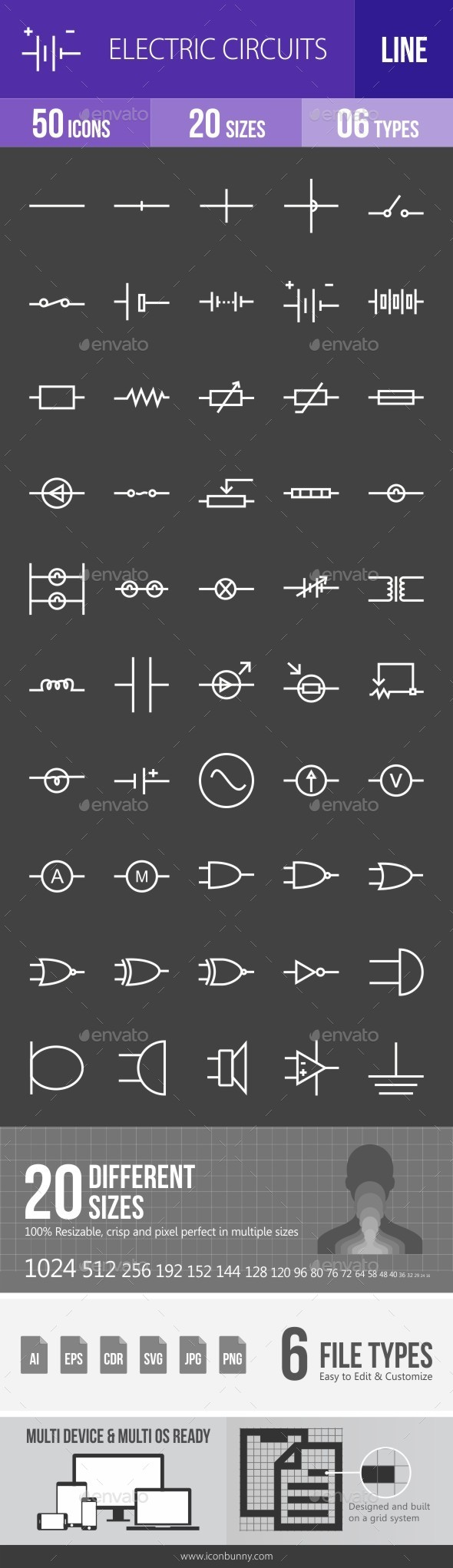 Electric Circuits Line Inverted Icons   Electric circuit, Icons and ...