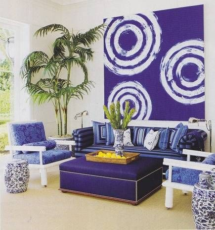 Marvelous Vibrant Blue Palm Beach Pool House Room By Aman And Carson Interiors ·  Casual Living RoomsWhite ...