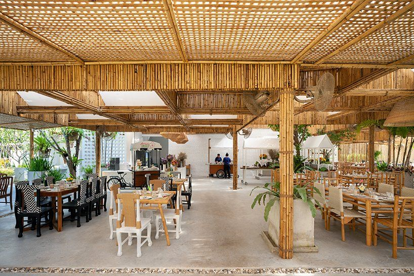 Studio Miti Uses Bamboo To Build Colorful Orchid Farm In Thailand In 2020 Orchid Nursery Restaurant Entrance Nursery Borders