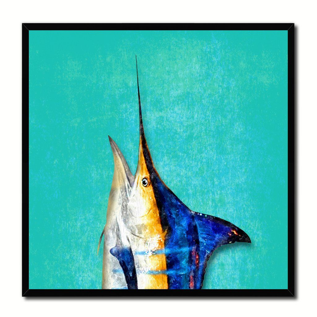 Blue Marlin Fish Head Art Aqua Canvas Print Picture Frame Wall Home