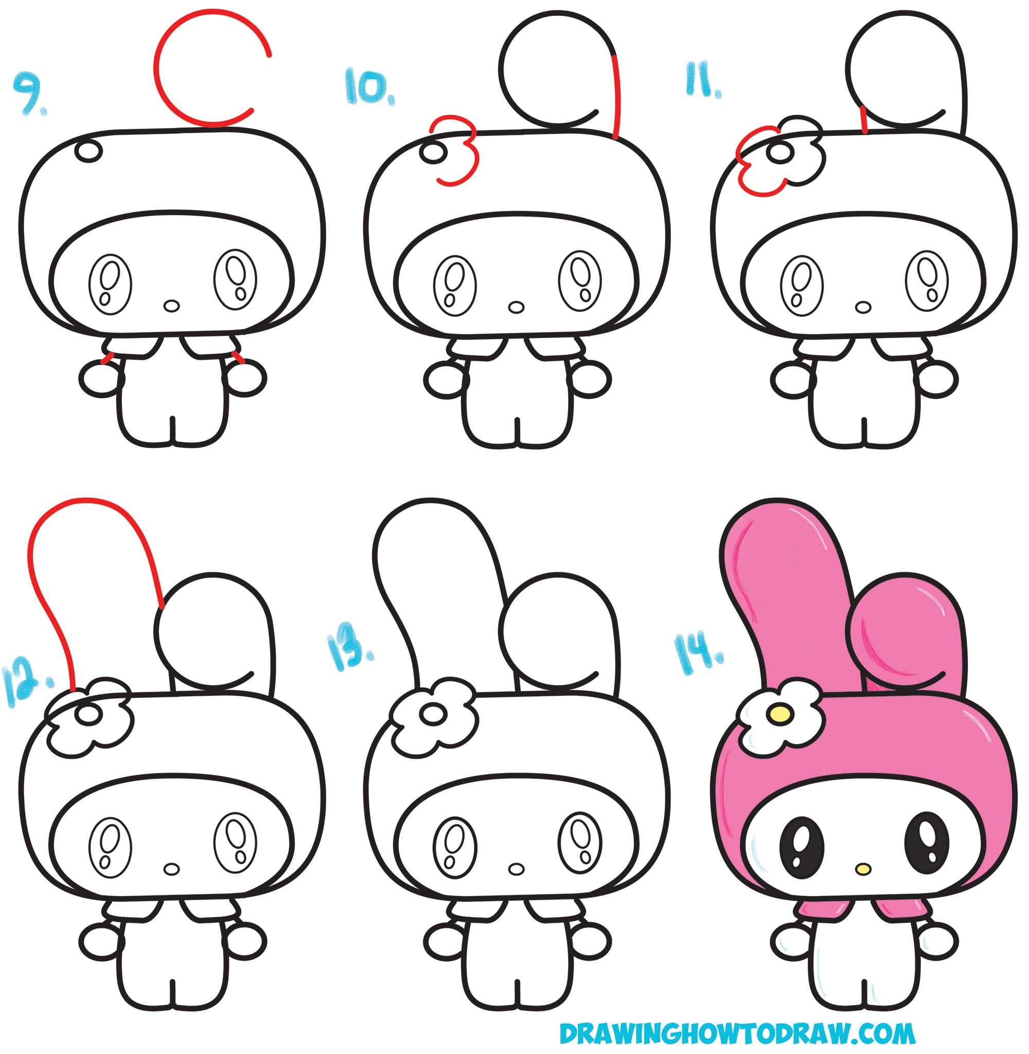 How To Draw Kawaii Chibi My Melody From Hello Kitty A Cute Bunny With A Hood On Easy Steps Drawing Lesson How To Draw Step By Step Drawing