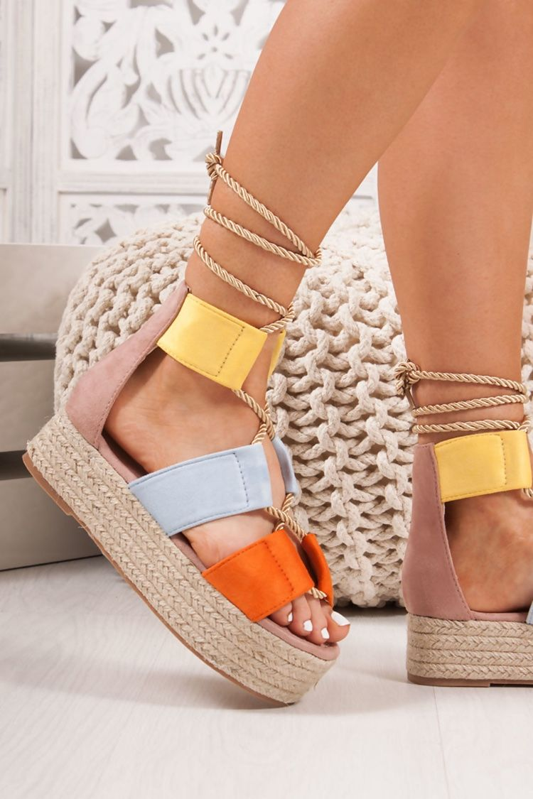Dahlia Blue Suede Rope Espadrille Flatforms Toe Loop Sandals Strappy Block Heel Sandals Strappy Block Heels