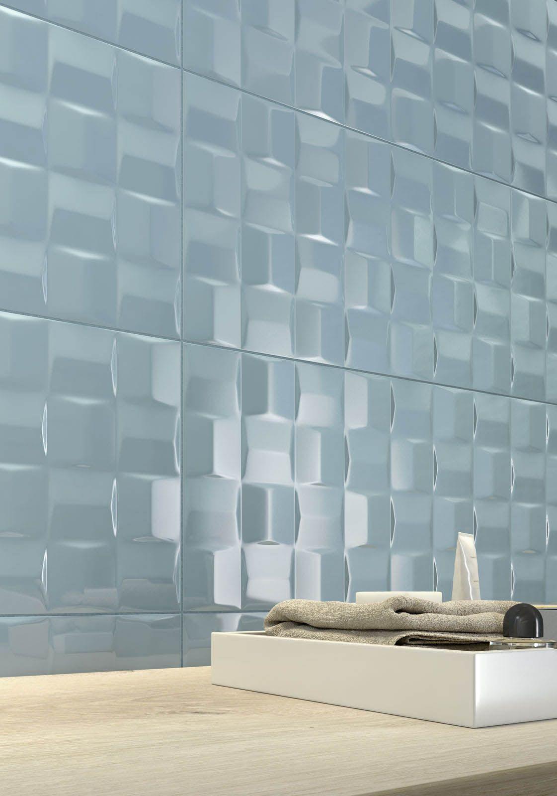 Bevelled 3D Porcelain aqua blue wall tile | Donhead | Pinterest ...