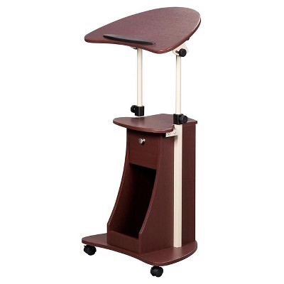 Rolling Adjustable Laptop Cart With Storage Chocolate