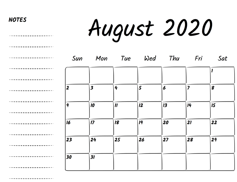 August 2020 Calendar With Excel Word Formats Printable Calendar Holidays 2020 2020 Calendar Template Calendar Template Excel Calendar