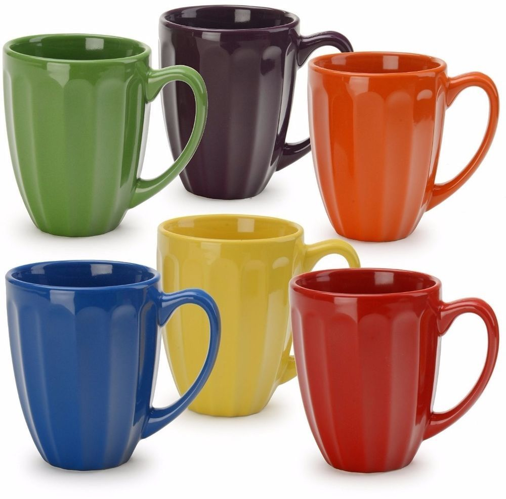 Durable Stoneware Assorted Colors 6 Fluted Coffee Mugs Kitchen Dining Glass Set #glassset #kitchen #dining #mugs #multi #fluted #home