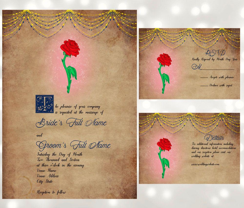 Fairy tale wedding invitation suite enchanted rose inspired by fairy tale wedding invitation suite enchanted rose inspired by beauty and the beast monicamarmolfo Images