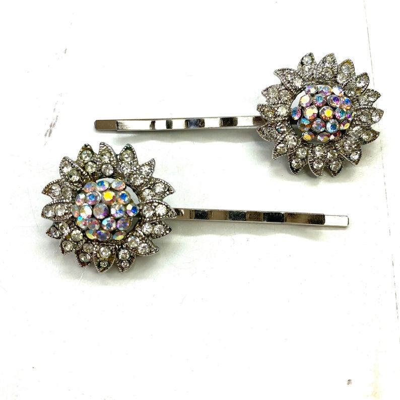 Vintage Rhinestone Hair Pin Pair Flower