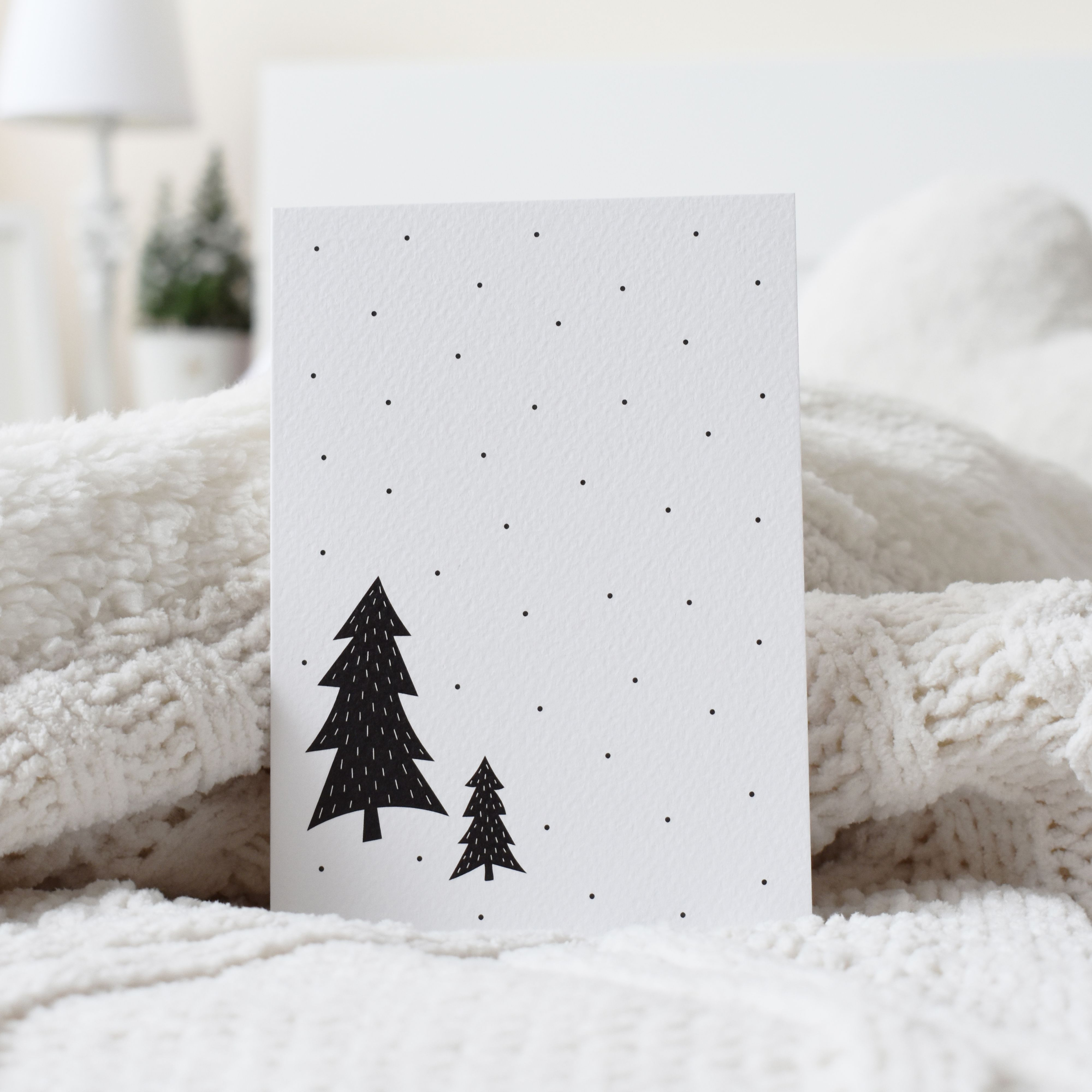 Black And White Christmas Trees Snowing Scandinavian Design Minimalist Greeting Card Elemente Design Greeting Card Size White Christmas Trees Xmas Cards