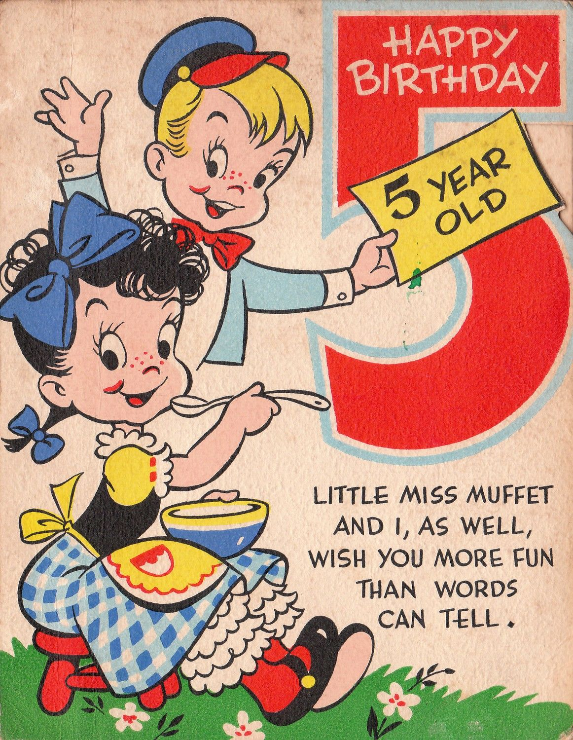 Happy birthday wishes from Little Miss Muffet vintage birthday