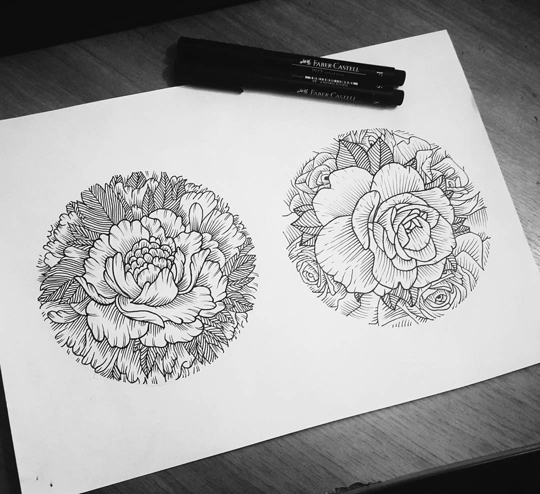 Flower Tattoo Design Sketches