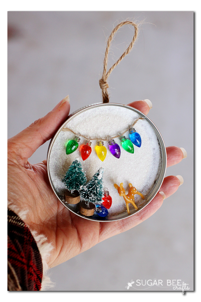 Mason Jar Lid Snowy Scene, decor or ornament - Sug